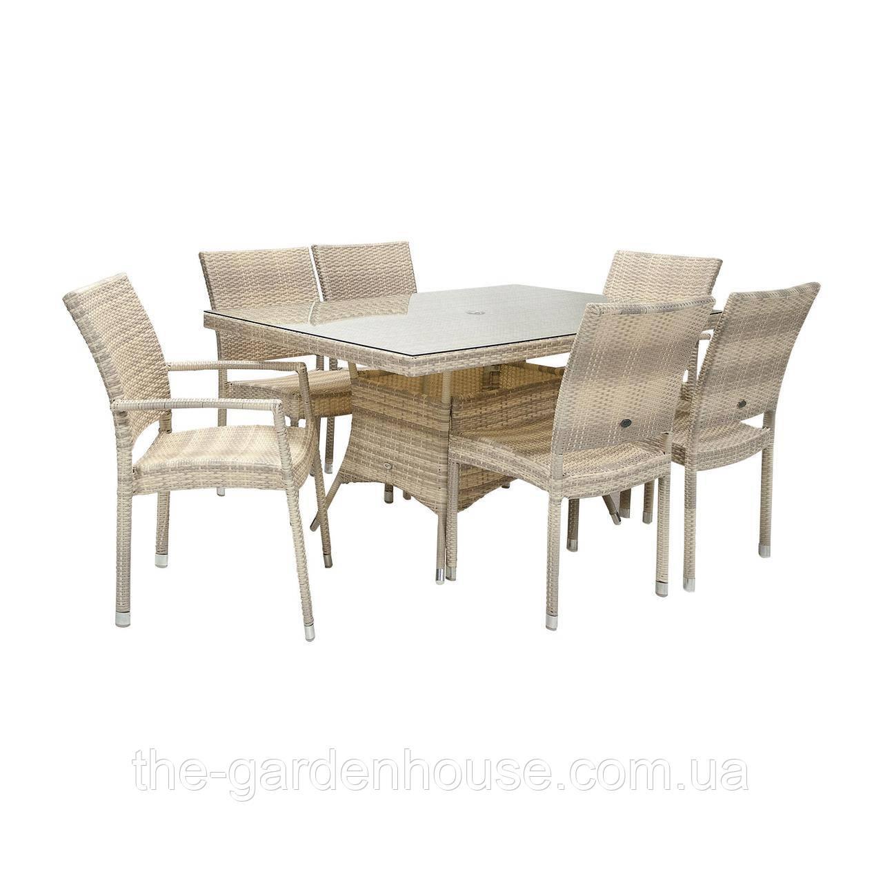 Столовый комплект садовой мебели из искусственного ротанга Викер: стол 150 см и 6 стульев светло-бежевый