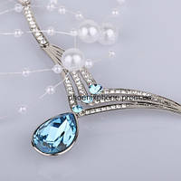 Невероятное ожерелье, с кристаллами Swarovski, покрытое платиной (303321)