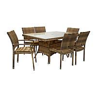 Столовый комплект садовой мебели из искусственного ротанга Викер: стол 150 см и 6 стульев капучино