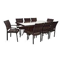 Обеденный комплект Wicker из техноротанга: стол 200 см и 8 стульев темно-коричневый