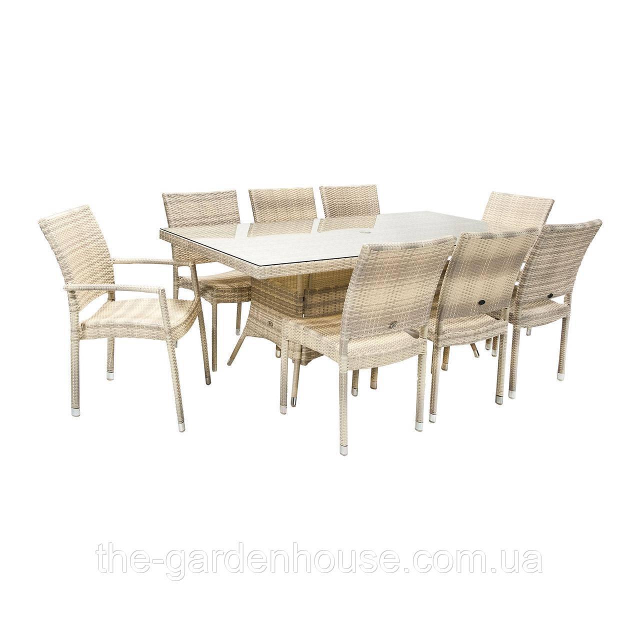 Обеденный комплект Wicker из техноротанга: стол 200 см и 8 стульев светло-бежевый