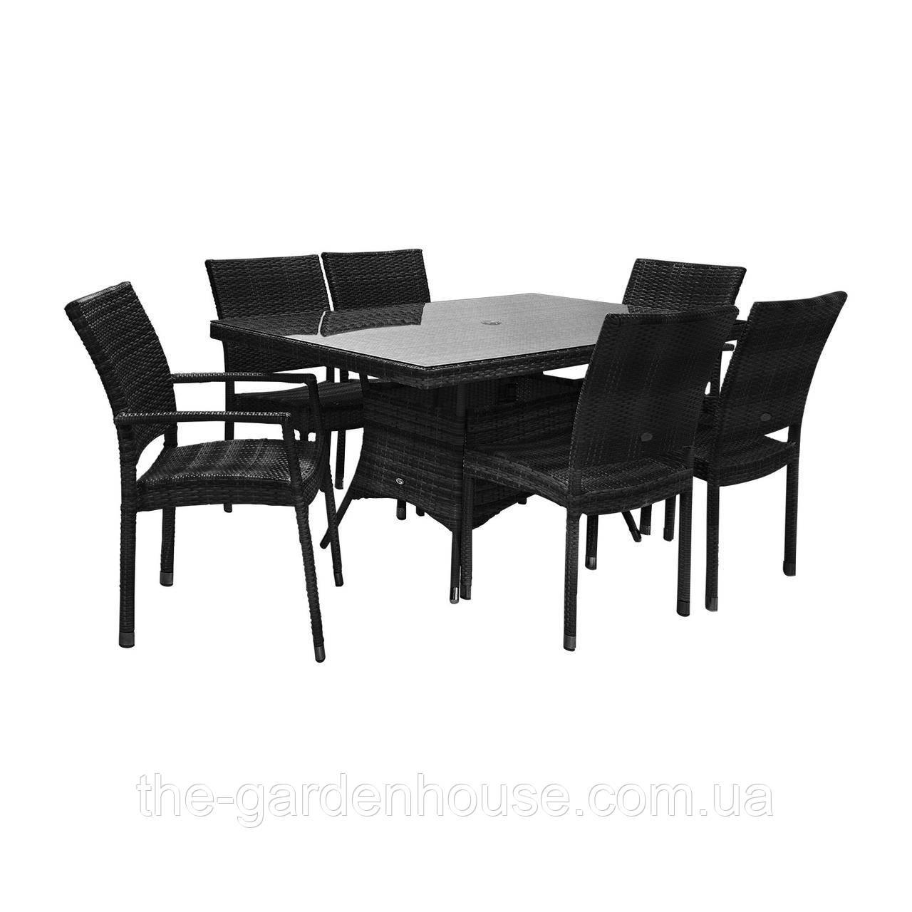 Столовый комплект садовой мебели из искусственного ротанга Викер: стол 150 см и 6 стульев черный
