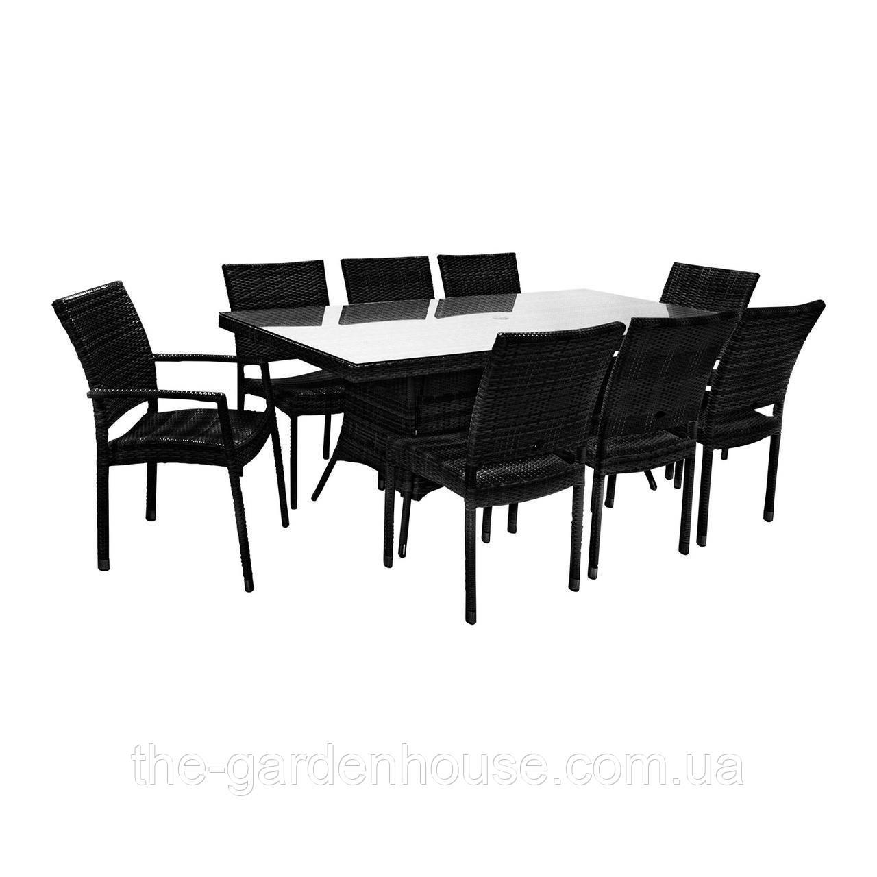Обеденный комплект Wicker из техноротанга: стол 200 см и 8 стульев черный