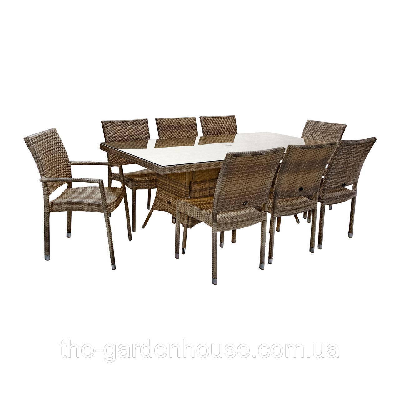 Обеденный комплект Wicker из техноротанга: стол 200 см и 8 стульев капучино