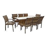 Обеденный комплект Wicker из техноротанга: стол 200 см и 8 стульев капучино, фото 1