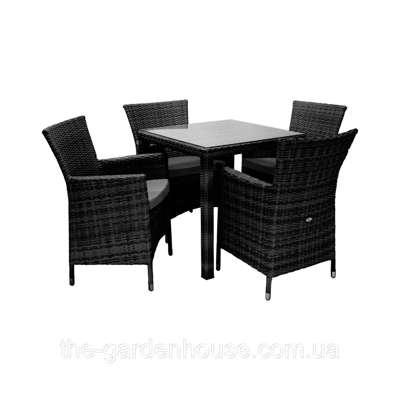 Столовый набор садовой мебели WICKER из искусственного ротанга черный, фото 1