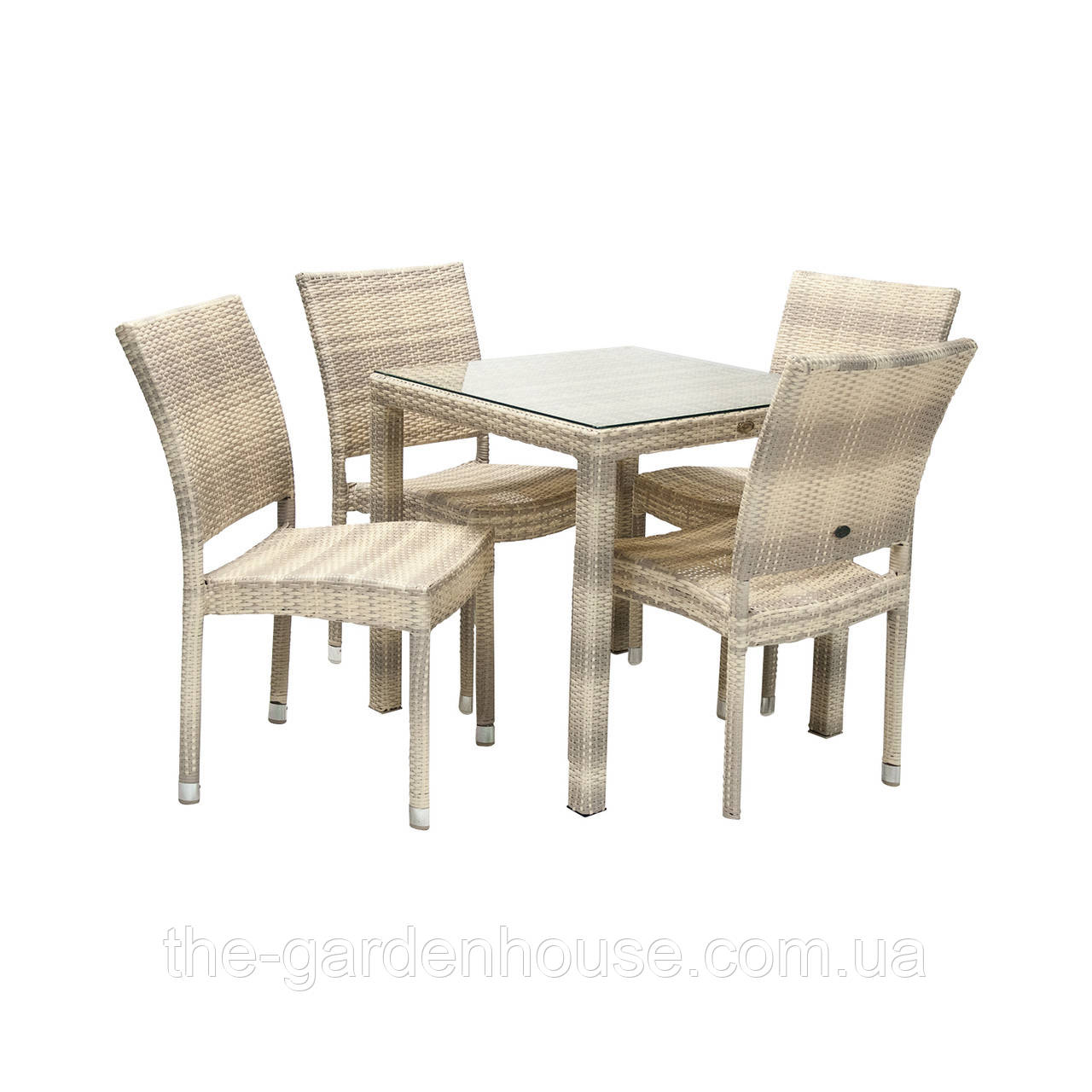 Столовый набор садовой мебели Викер из искусственного ротанга: стол и 4 стула светло-бежевый