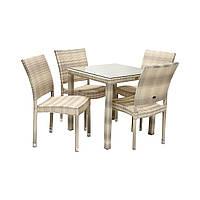 Столовый набор садовой мебели Викер из искусственного ротанга: стол и 4 стула светло-бежевый, фото 1