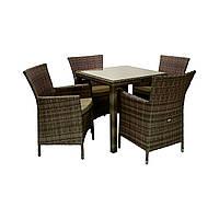 Столовый набор садовой мебели WICKER из искусственного ротанга темно-коричневый, фото 1