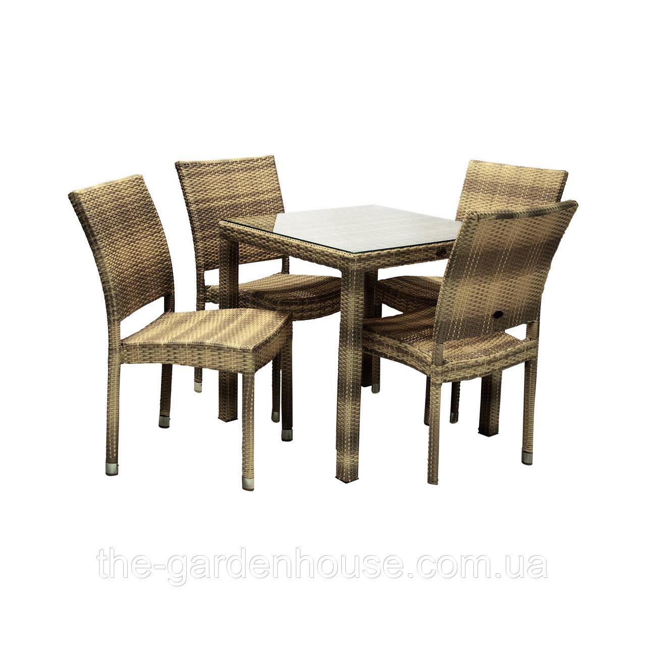 Столовый набор садовой мебели Викер из искусственного ротанга: стол и 4 стула капучино