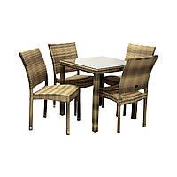 Столовый набор садовой мебели Викер из искусственного ротанга: стол и 4 стула капучино, фото 1
