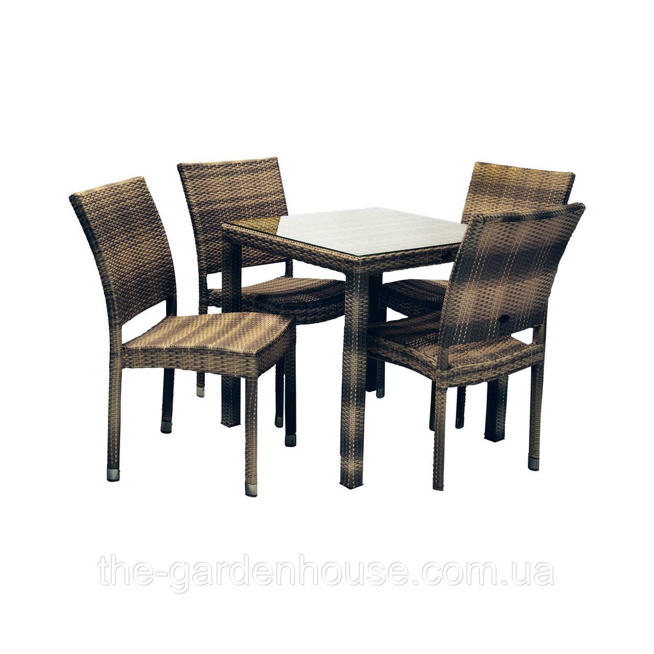 Столовий набір садових меблів Вікер з штучного ротанга: стіл та 4 стільця темно-коричневий