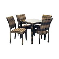 Столовий набір садових меблів Вікер з штучного ротанга: стіл та 4 стільця темно-коричневий, фото 1