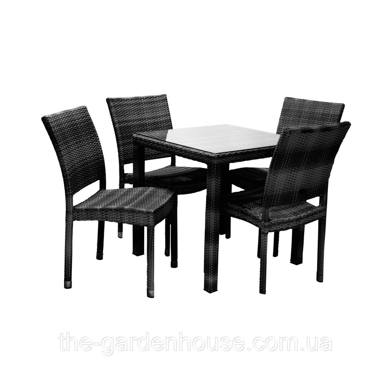 Столовый набор садовой мебели Викер из искусственного ротанга: стол и 4 стула черный