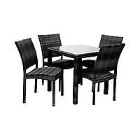 Столовий набір садових меблів Вікер з штучного ротанга: стіл та 4 стільця чорний, фото 1