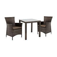 Двухместный набор садовой мебели Викер из техноротанга темно-коричневый, фото 1