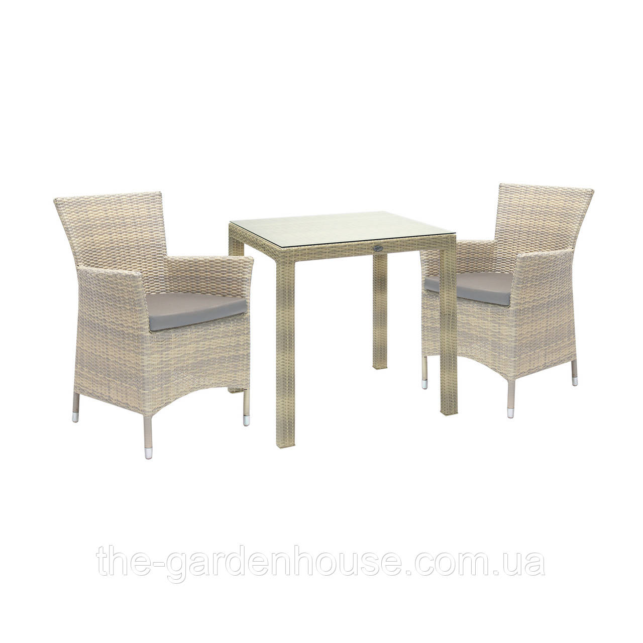 Двухместный набор садовой мебели Викер из техноротанга светло-бежевый