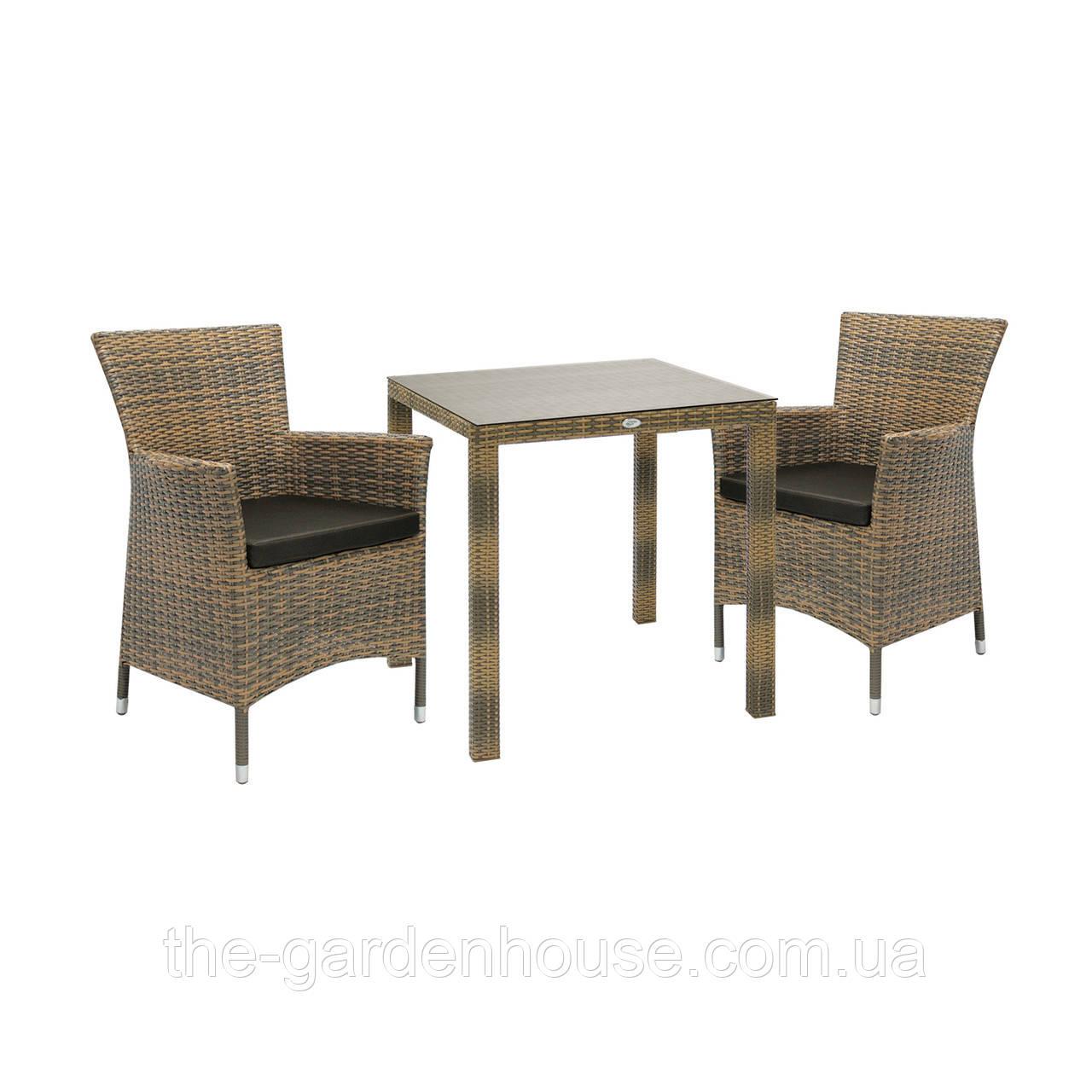 Двухместный набор садовой мебели Викер из техноротанга капучино