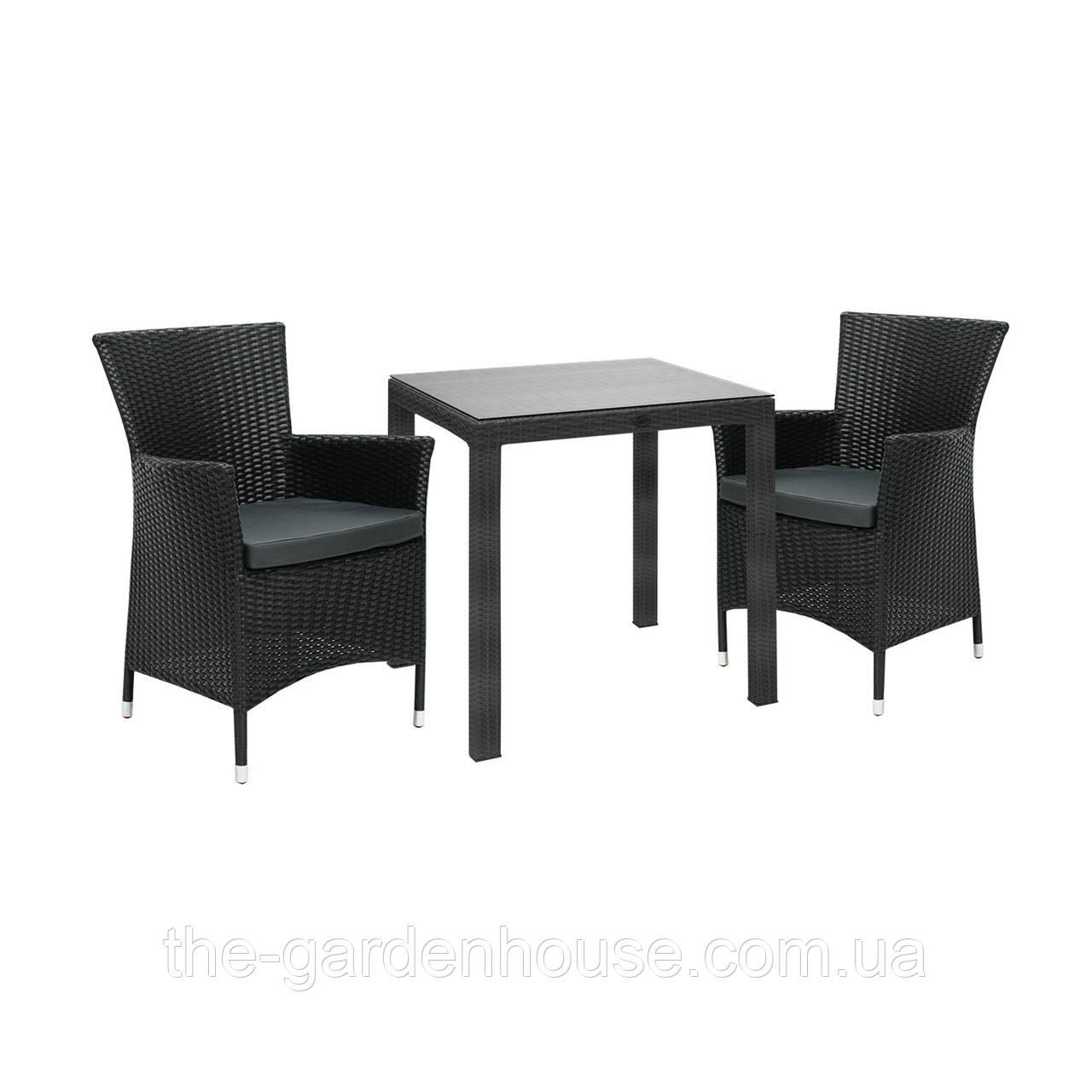 Двухместный набор садовой мебели Викер из техноротанга черный