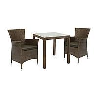 Двухместный набор садовой мебели Викер из техноротанга коричневый, фото 1
