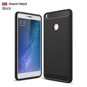 Чехол накладка для Xiaomi Mi MAX 2 силиконовый Carbon Fibre, черный