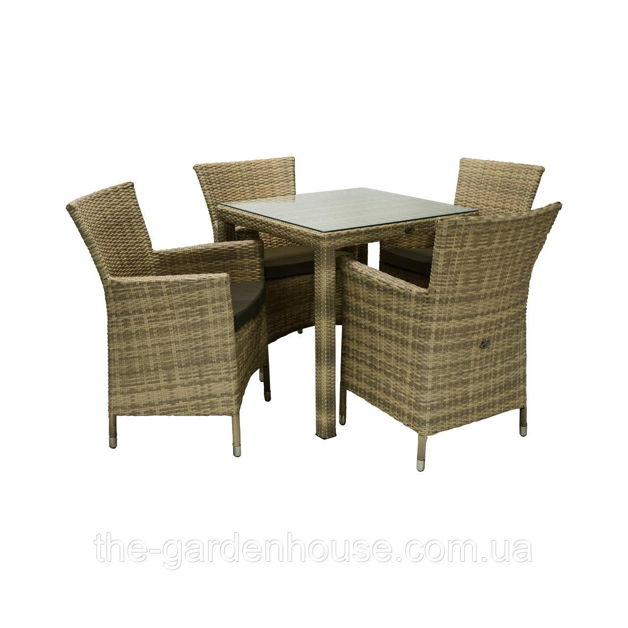 Обеденный комплект мебели Викер из техноротанга капучино