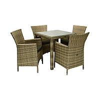 Обеденный комплект мебели Викер из техноротанга капучино, фото 1