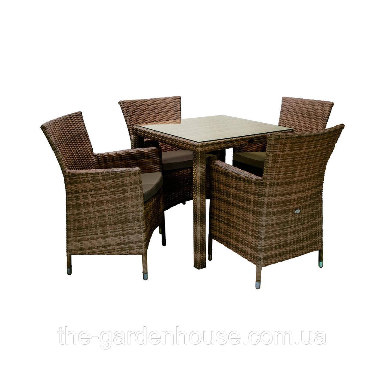 Набор столовой мебели Викер из техноротанга коричневый