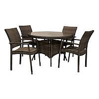 Обеденный комплект из искусственного ротанга Wicker: стол 120 см и 4 стула темно-коричневый, фото 1