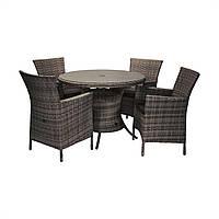 Обеденный комплект Викер из искусственного ротанга: стол 100 см и 4 кресла темно-коричневый, фото 1