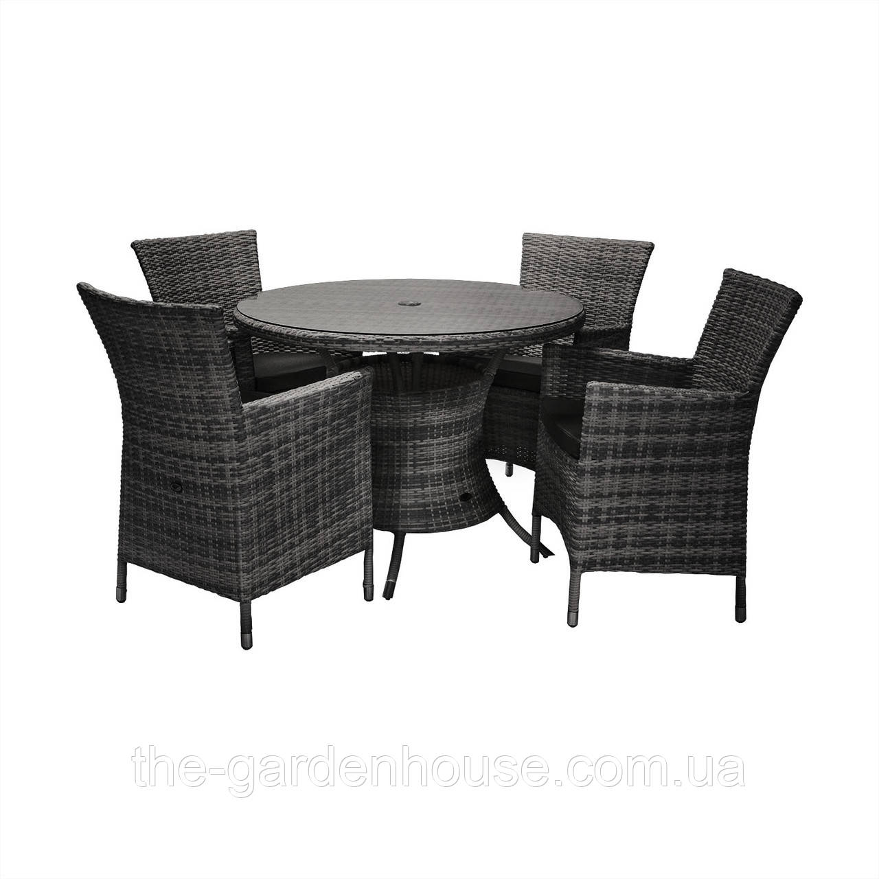 Обеденный комплект Викер из искусственного ротанга: стол 100 см и 4 кресла черный