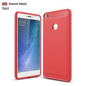 Чехол накладка для Xiaomi Mi MAX 2 силиконовый Carbon Fibre, Красный