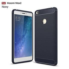 Чехол накладка для Xiaomi Mi MAX 2 силиконовый Carbon Fibre, Темно-синий