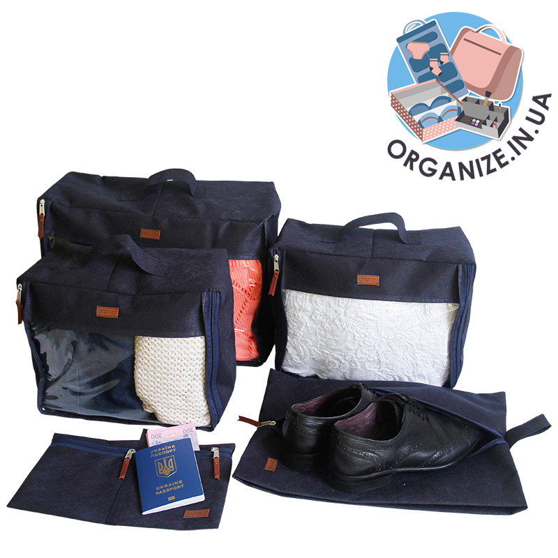 e8ede93c76e9 Набор дорожных сумок в чемодан 5 шт ORGANIZE (синий), цена 249 грн ...