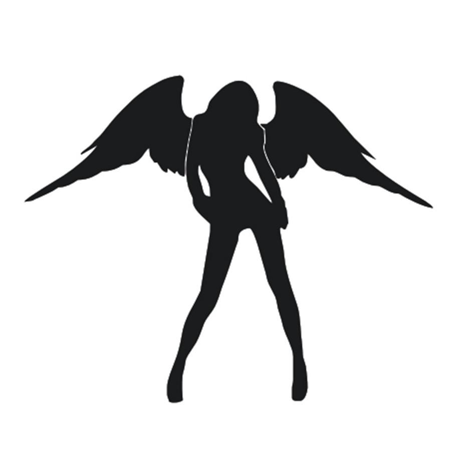 Наклейки на автомобиль - Ангел- черные