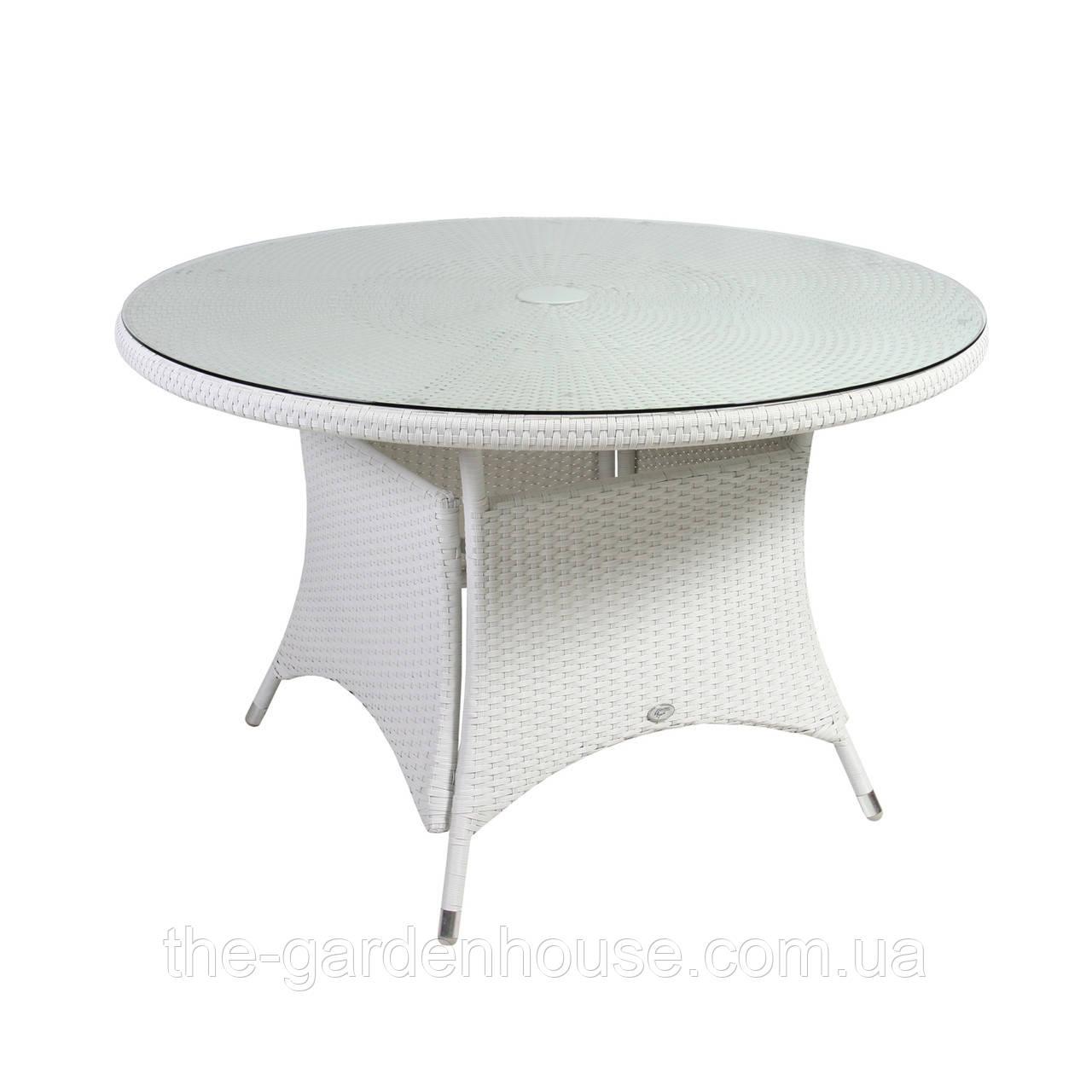 Обідній стіл з штучного ротанга Вікер Ø 123 см білий