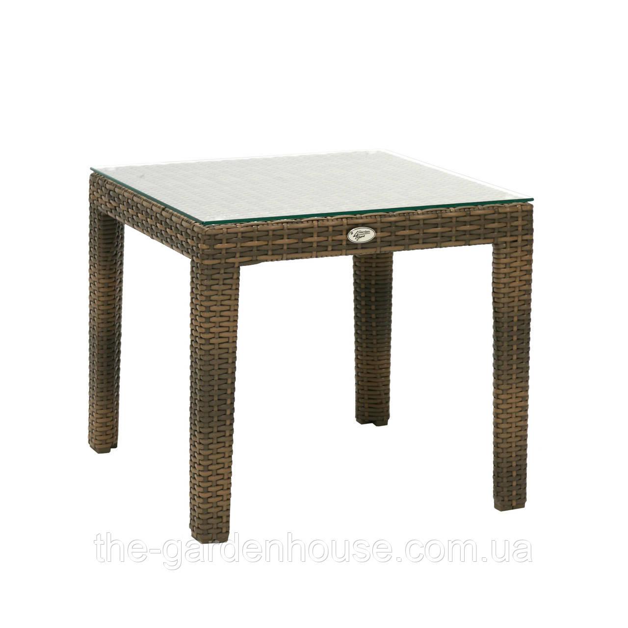 Кофейный столик Wicker из искусственного ротанга 50х50 см капучино