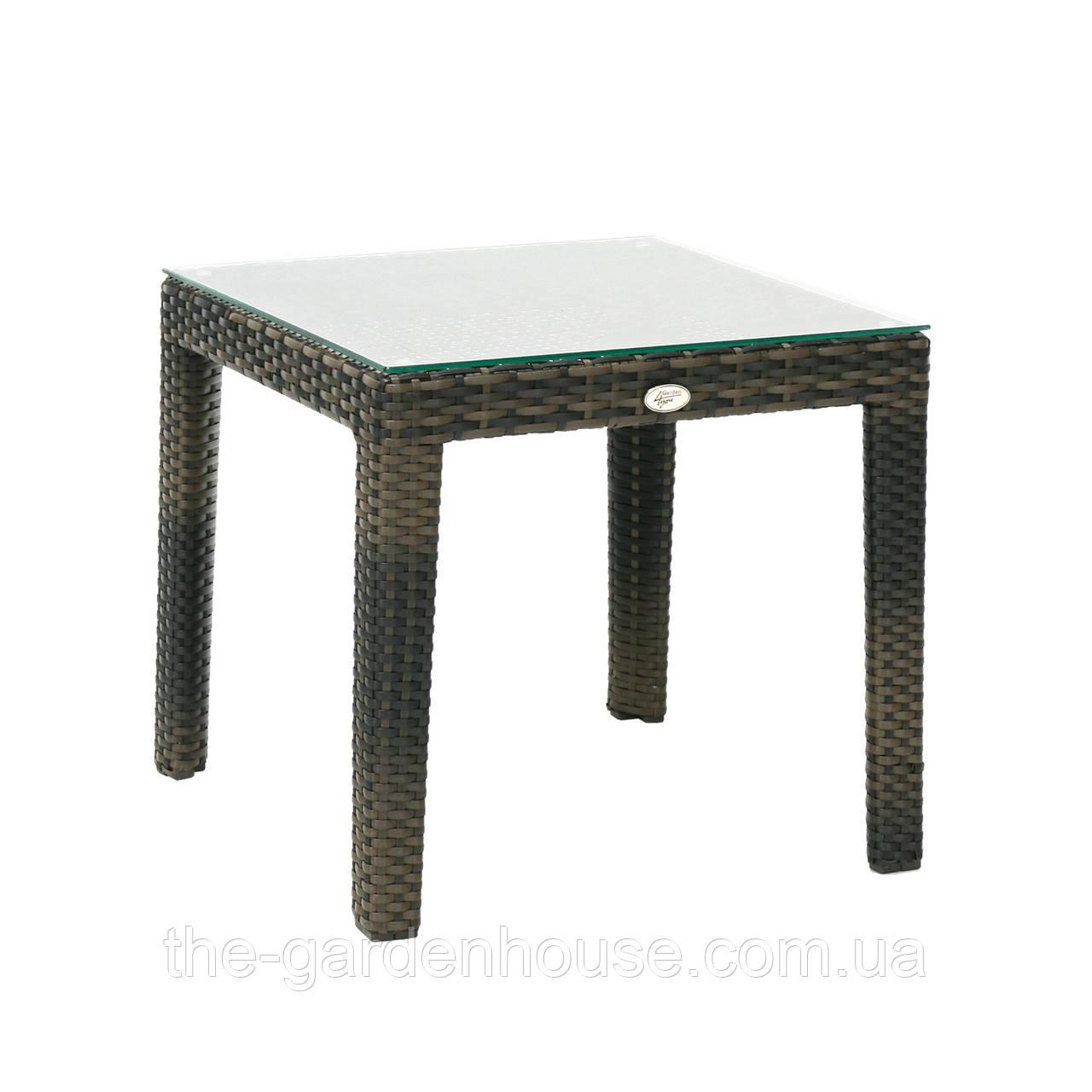 Кофейный столик Wicker из искусственного ротанга 50х50 см темно-коричневый