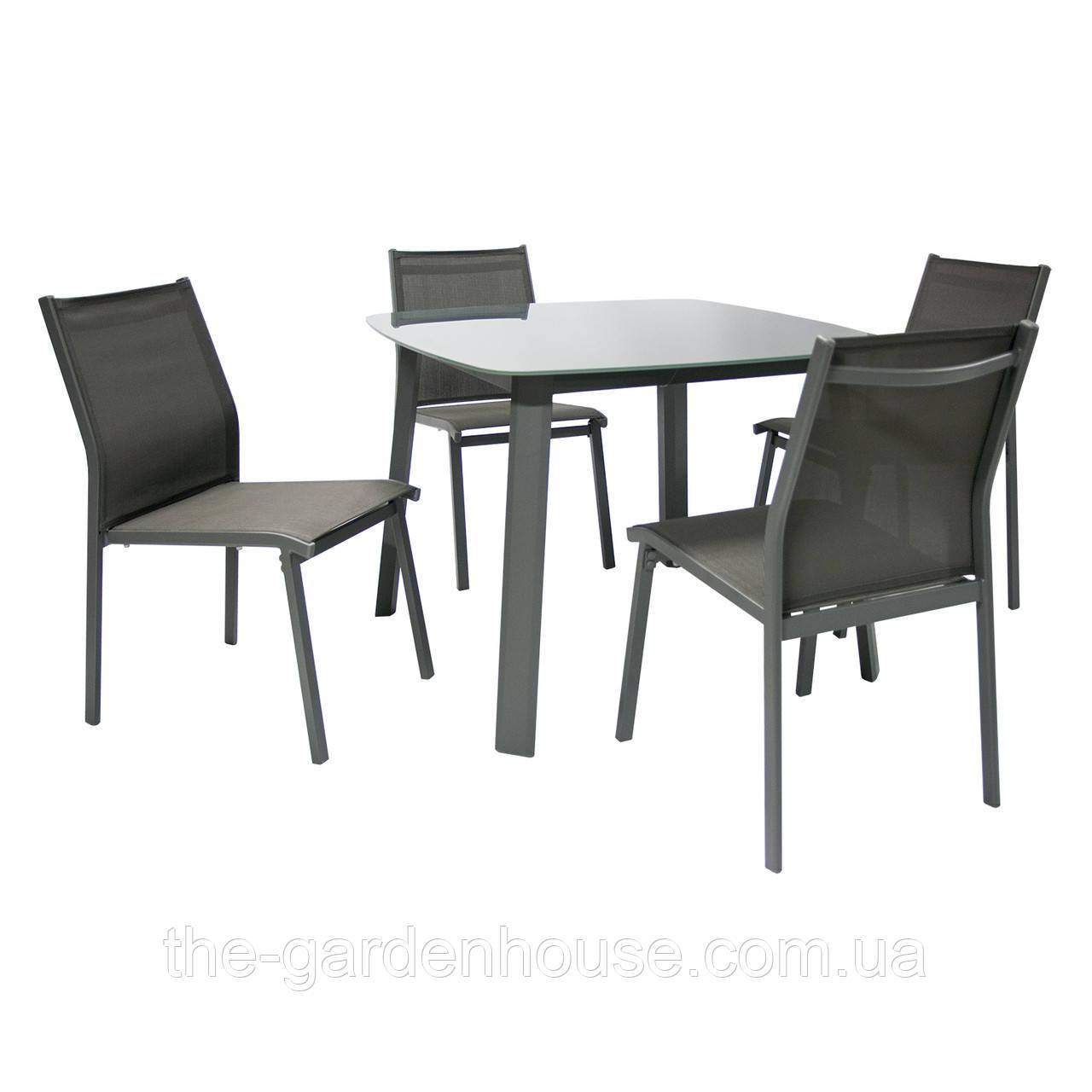 Обеденный набор садовой мебели Vigo: стол и 4 стула серый