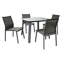 Обеденный набор садовой мебели Vigo: стол и 4 стула серый, фото 1