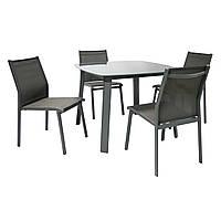Обеденный комплект Vigo: стол и 4 стула из алюминия и текстилена серый, фото 1