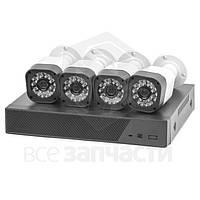 Комплект: сетевой видеорегистратор MACK0410 и 4 AHD-камеры наблюдения (720p, 1 МП)