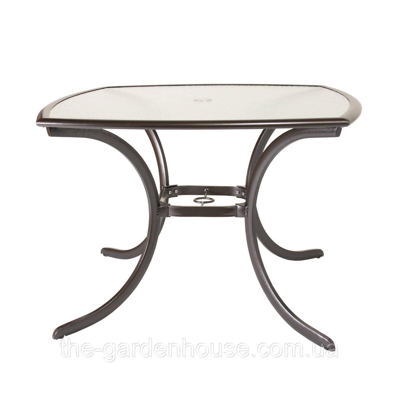 Обеденный садовый стол со стеклом Montreal коричневый