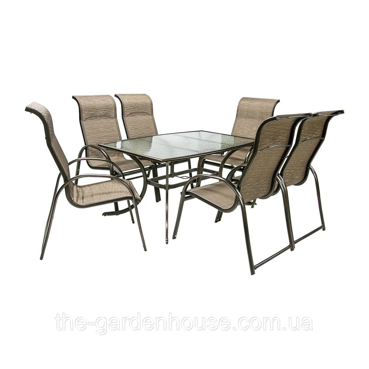 Обеденный комплект Montreal: стол со стеклом и 6 стульев из текстилена