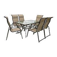 Обеденный комплект Montreal: стол со стеклом и 6 стульев из текстилена, фото 1