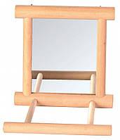 Зеркало Trixie Mirror with Wooden Frame для птиц с жердочкой, 9х9 см