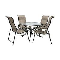 Обеденный комплект Montreal: стол со стеклом и 4 стула из текстилена, фото 1