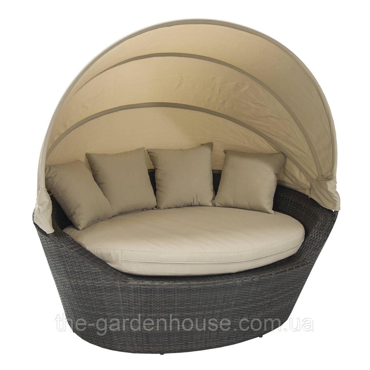 Садовый диван Mini Muse из искусственного ротанга с навесом темно-коричневый