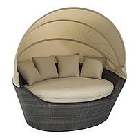Садовый диван Mini Muse из искусственного ротанга с навесом темно-коричневый, фото 1