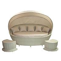 Садовый диван Muse с навесом и двумя тумбами из искусственного ротанга светло-бежевый